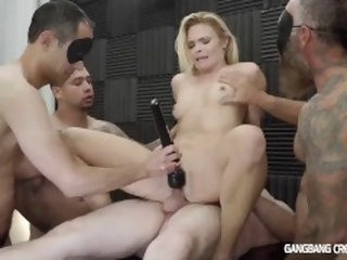 Skinny blonde gets gangbanged hard by the cocksmen group gangbangcreampie