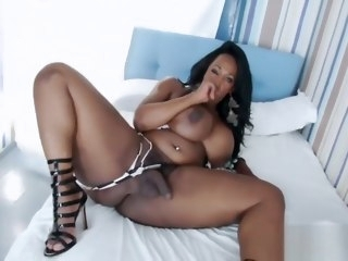 Ebony BBW Tgirl Enjoys Stroking Her Big Load of shit solo shemale shemale