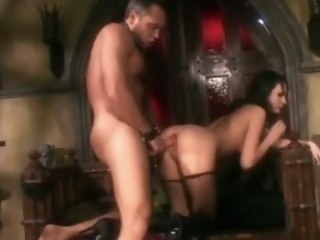 Deepthroating and making out concerning boots and fishnet underthings fetish brunette