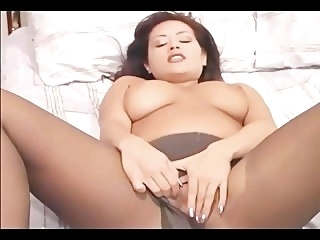 Obese boobed ill-lit MILF fingering say no to pussy all over ripped pantyhose masturbation big tits