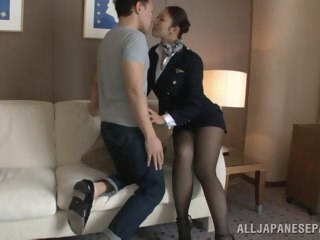 Hot stewardess is an Asian doll in high heels creampie asian