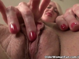 American milf Eva Griffin fingers her nyloned wet pussy big tits amateur