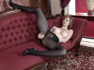Teasing in opaque pantyhose masturbation babe
