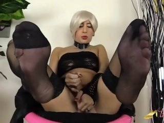 Blonde crossdresser in stockings pumps say no to cock and cum blonde big dick