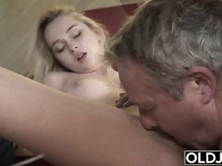 Young Old porn Martha gives grandpa a blowjob about an increment of has mating about his old gumshoe blonde oldje.com