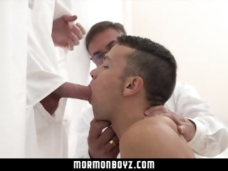 MormonBoyz - Cute bottom boy fucked by handsome daddy officiant at gloryhole blowjob bareback