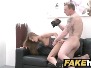 Female Agent English stud cheats and pounds sexy agents penny-pinching pussy casting fakehub