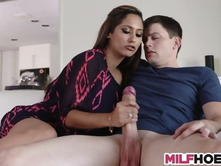Nice nurturer helps stepson wanking and gives BJ handjob mature