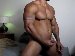 Samson strokes his Big Black Cocky Muscle Cock muscle black