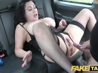Fake Taxi Huge meaty pussy lips hang go away from coupled with grip big drivers dick car amateur